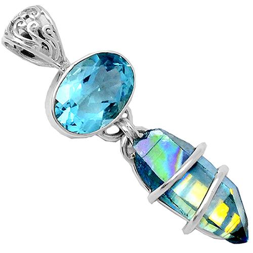 New aqua aura quartz and blue topaz pendant set in sterling silver new aqua aura quartz and blue topaz pendant aloadofball Image collections