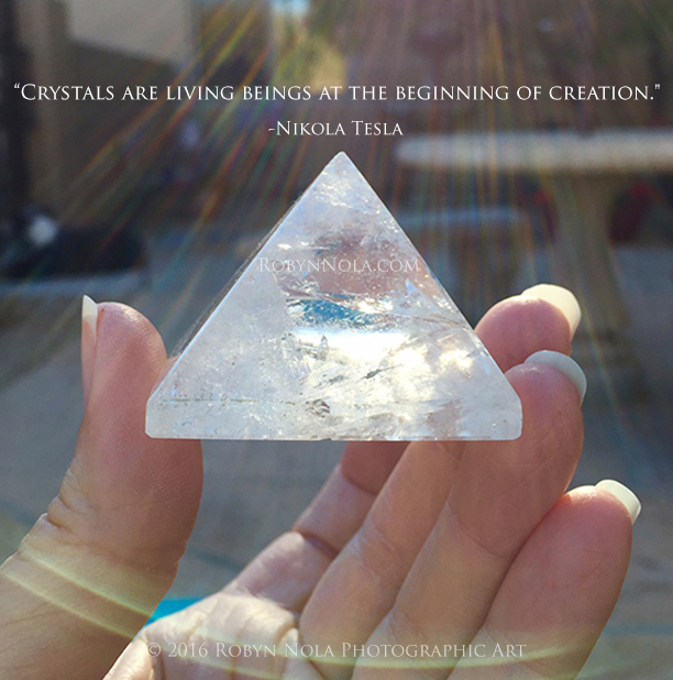 Tesla crystal quote photography by Robyn Nola
