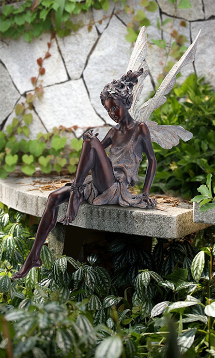 Enchanting Fairy Garden Statue In Bronze Color   Robyn Nola Gifts