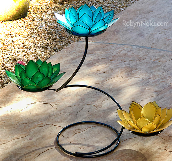New Mini Chakra Lotus Spiral Candle Holder Stand With 3 Lotus