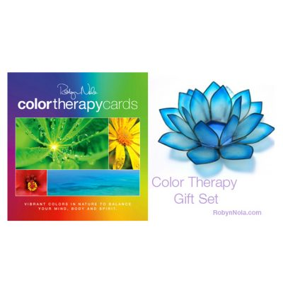 Color Therapy Cards and Turquoise Lotus Candle Holder Gift Set